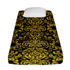 Damask2 Black Marble & Yellow Denim (r) Fitted Sheet (single Size) by trendistuff