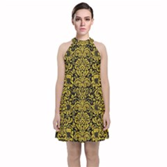 Damask2 Black Marble & Yellow Denim (r) Velvet Halter Neckline Dress  by trendistuff