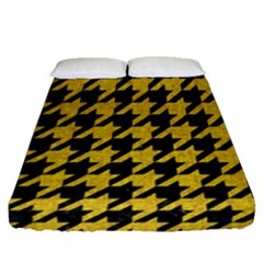 Houndstooth1 Black Marble & Yellow Denim Fitted Sheet (queen Size) by trendistuff