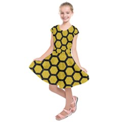 Hexagon2 Black Marble & Yellow Denim Kids  Short Sleeve Dress
