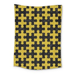 Puzzle1 Black Marble & Yellow Denim Medium Tapestry