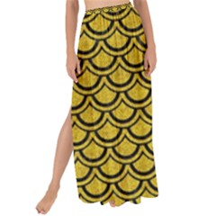 Scales2 Black Marble & Yellow Denim Maxi Chiffon Tie Up Sarong