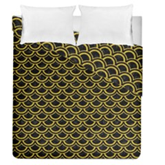 Scales2 Black Marble & Yellow Denim (r) Duvet Cover Double Side (queen Size) by trendistuff