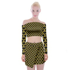 Scales3 Black Marble & Yellow Denim (r) Off Shoulder Top With Mini Skirt Set