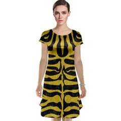 Skin2 Black Marble & Yellow Denim (r) Cap Sleeve Nightdress