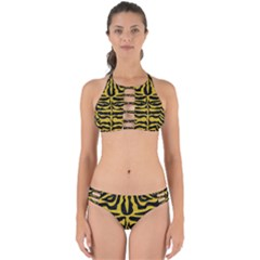 Skin2 Black Marble & Yellow Denim (r) Perfectly Cut Out Bikini Set