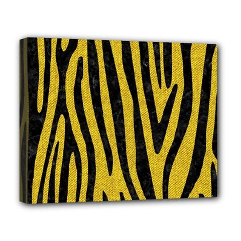 Skin4 Black Marble & Yellow Denim (r) Deluxe Canvas 20  X 16   by trendistuff