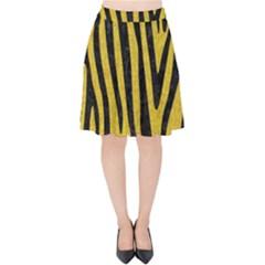 Skin4 Black Marble & Yellow Denim (r) Velvet High Waist Skirt by trendistuff
