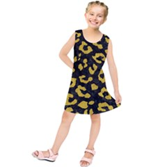 Skin5 Black Marble & Yellow Denim Kids  Tunic Dress