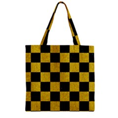 Square1 Black Marble & Yellow Denim Zipper Grocery Tote Bag by trendistuff