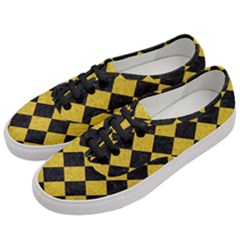 Square2 Black Marble & Yellow Denim Women s Classic Low Top Sneakers by trendistuff