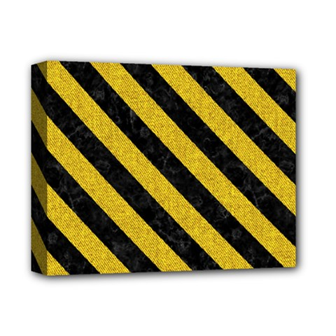 Stripes3 Black Marble & Yellow Denim Deluxe Canvas 14  X 11  by trendistuff
