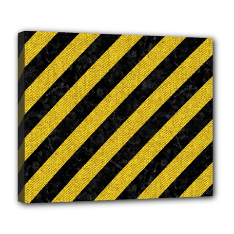Stripes3 Black Marble & Yellow Denim (r) Deluxe Canvas 24  X 20   by trendistuff