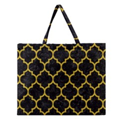 Tile1 Black Marble & Yellow Denim (r) Zipper Large Tote Bag