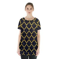 Tile1 Black Marble & Yellow Denim (r) Skirt Hem Sports Top by trendistuff