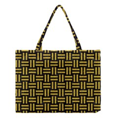 Woven1 Black Marble & Yellow Denim (r) Medium Tote Bag by trendistuff
