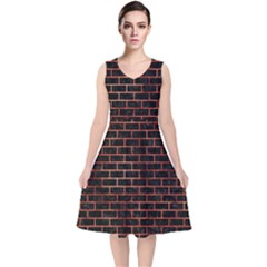 Brick1 Black Marble & Copper Paint (r) V Neck Midi Sleeveless Dress