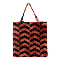 Chevron2 Black Marble & Copper Paint Grocery Tote Bag by trendistuff