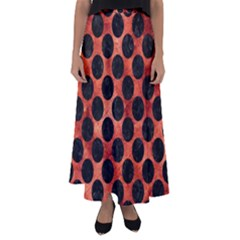 Circles2 Black Marble & Copper Paint Flared Maxi Skirt by trendistuff