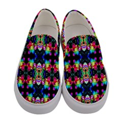 Colorful Bright Seamless Flower Pattern Women s Canvas Slip Ons
