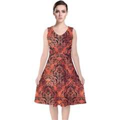 Damask1 Black Marble & Copper Paint V Neck Midi Sleeveless Dress