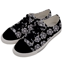 White Gray Flower Pattern On Black Men s Low Top Canvas Sneakers by Costasonlineshop