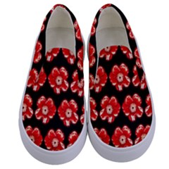 Red  Flower Pattern On Brown Kids  Canvas Slip Ons
