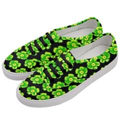 Green Yellow Flower Pattern On Dark Green Women s Classic Low Top Sneakers by Costasonlineshop