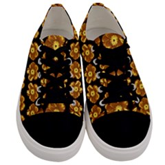Yellow Brown Flower Pattern On Brown Men s Low Top Canvas Sneakers