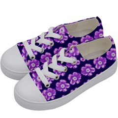Purple Flower Pattern On Blue Kids  Low Top Canvas Sneakers by Costasonlineshop