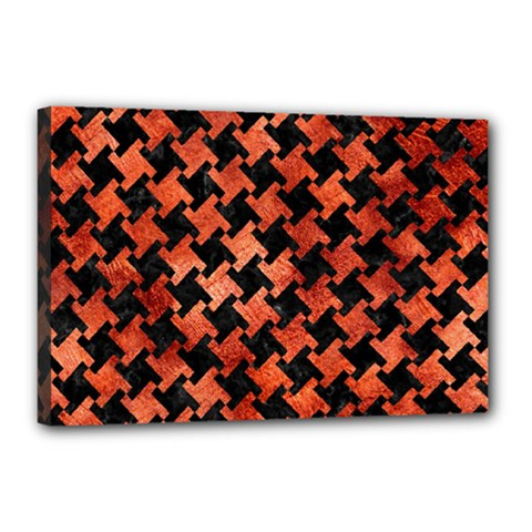 Houndstooth2 Black Marble & Copper Paint Canvas 18  X 12  by trendistuff