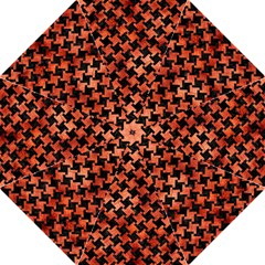 Houndstooth2 Black Marble & Copper Paint Folding Umbrellas by trendistuff