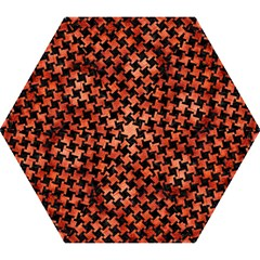 Houndstooth2 Black Marble & Copper Paint Mini Folding Umbrellas by trendistuff