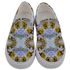 Blue Yellow Flower Girly Pattern, Men s Canvas Slip Ons