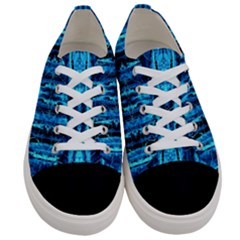 Bright Blue Turquoise  Black Pattern Women s Low Top Canvas Sneakers
