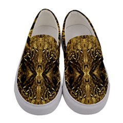 Beautiful ,gold, Brown , Traditional, Pattern Women s Canvas Slip Ons