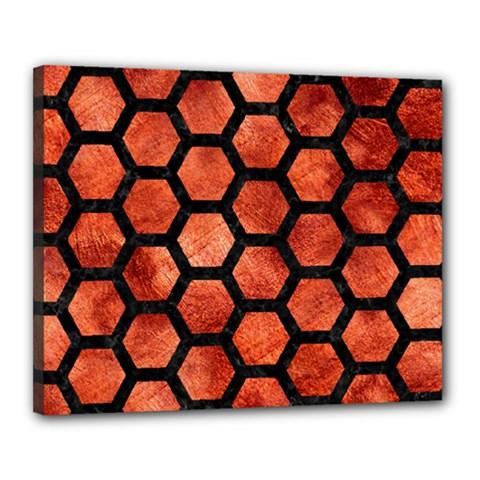 Hexagon2 Black Marble & Copper Paint Canvas 20  X 16  by trendistuff