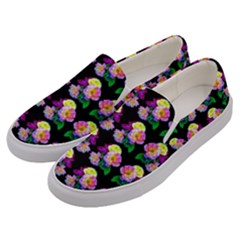 Rosa Yellow Roses Pattern On Black Men s Canvas Slip Ons by Costasonlineshop