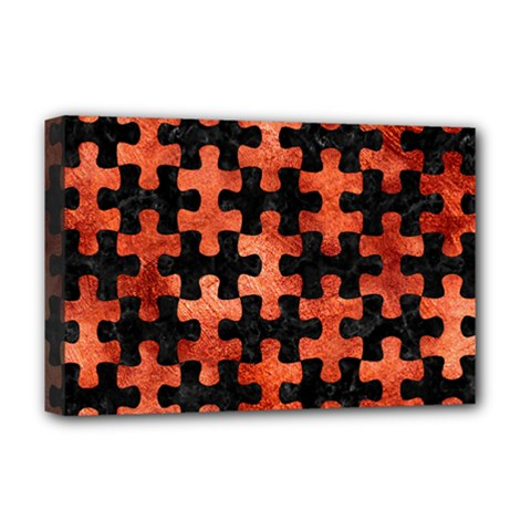 Puzzle1 Black Marble & Copper Paint Deluxe Canvas 18  X 12   by trendistuff