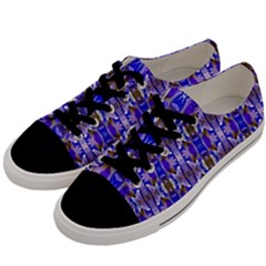 Blue White Abstract Flower Pattern Men s Low Top Canvas Sneakers by Costasonlineshop
