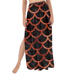 Scales1 Black Marble & Copper Paint (r) Maxi Chiffon Tie Up Sarong