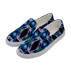Blue, Light Blue, Metallic Diamond Pattern Women s Canvas Slip Ons by Costasonlineshop