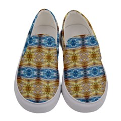 Gold And Blue Elegant Pattern Women s Canvas Slip Ons