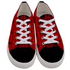 Red Black Gothic Pattern Women s Low Top Canvas Sneakers