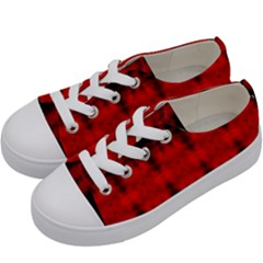 Red Black Gothic Pattern Kids  Low Top Canvas Sneakers by Costasonlineshop