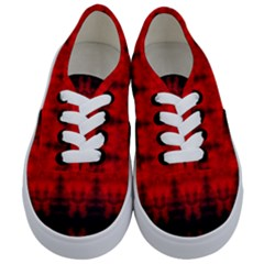 Red Black Gothic Pattern Kids  Classic Low Top Sneakers