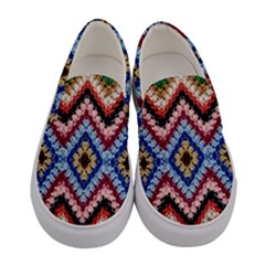 Colorful Diamond Crochet Women s Canvas Slip Ons