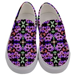 Purple Green Flowers With Green Men s Canvas Slip Ons