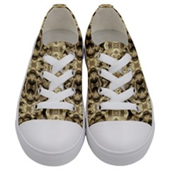 Gold Fabric Pattern Design Kids  Low Top Canvas Sneakers