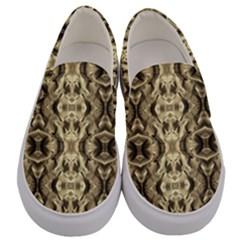 Gold Fabric Pattern Design Men s Canvas Slip Ons